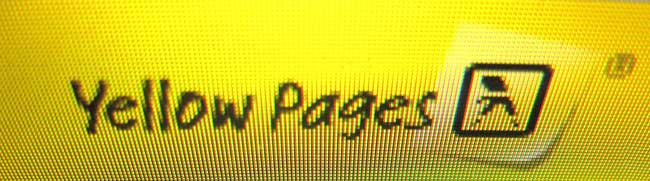 Close up of a pixelated Yellow Pages logo