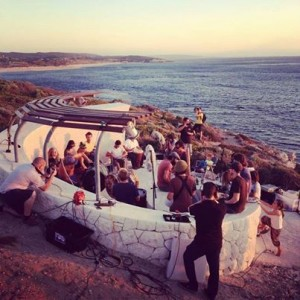 Sunset music recording at Surfer's Point