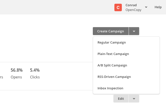 Screenshot of the create a campaign button in MailChimp